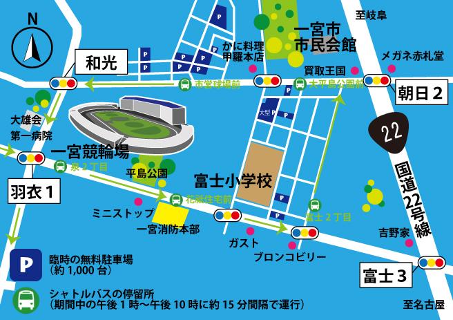 一宮七夕まつりの臨時駐車場の地図