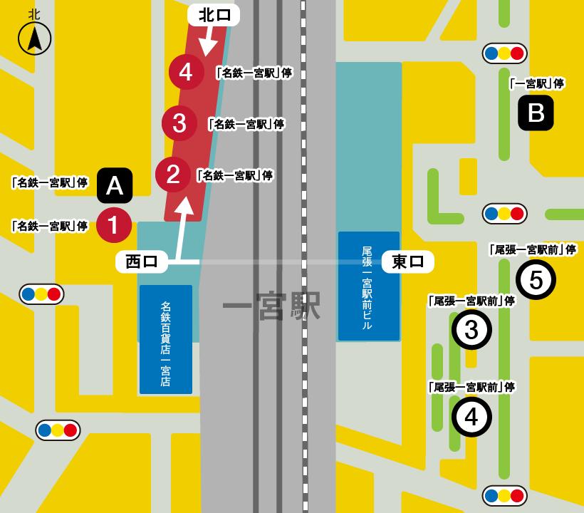 一宮駅前のバス停
